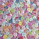JER Knöpfe Scrapbooking Mischung aus bunten Holz Kleiner Kinderknöpfe Sewing DIY 11 bis 23 mm 100 Stück Bürobedarf
