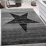 Designer Teppich Stern Muster Modern Trendig Kurzflor Meliert In Grau Schwarz, Grösse:160x220 cm