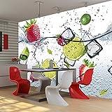 murando - Fototapete Küche 350x245 cm - Vlies Tapete - Moderne Wanddeko - Design Tapete - Wandtapete - Wand Dekoration - Obst Limone Erdbeere grün weiß rot Wasser Eis 10110908-2