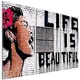 Bilder Life is Beautiful Banksy Street Art Wandbild 120 x 80 cm Vlies - Leinwand Bild XXL Format Wandbilder Wohnzimmer Wohnung Deko Kunstdrucke Weiß 3 Teilig - MADE IN GERMANY - Fertig zum Aufhängen 301331a