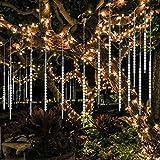 BlueFire Aufgerüstet Meteorschauer Regen Lichter, 50cm 10 Spirale Tubes 540 LEDs Wasserdichte Schneefall Lichterkette für Draussen/Innenraum/Garten/Hochzeit/Party/Weihnachten Dekoration (Weiß)