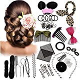 Haare Frisuren Set, Luckyfine DIY Haar Styling-Werkzeuge Frisurenhilfe Kit, Haar Zubehör Styling Set, Frauen und Mädchen Haar Clip Styling Pads Schaum Hair Styling tools