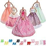 ASIV Kleidung & Schuhe für Barbie Puppen, 5er Packung Modisch Groß Hochzeit Prinzessin Kleider & 12 Paar High-Heel Schuhe für Barby Mädchen Geschenk