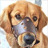 Easylifer Verstellbare Hundemaulkorb aus Leder atmungsaktiv Sicherheit Haustier Hund Maulkorb Maske f¨¹r Bissig und Barking(L)