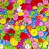 300 Gramm kunterbunt gemischte Näh- und Bastelknöpfe (ca. 500 Stück) - Durchmesser ca. 12 bis 25 mm - Kunststoffknöpfe in vielen Farben zum Scrapbooking, Nähen, Basteln und Dekorieren