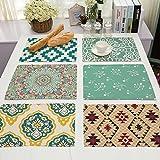 GWELL 6er Set Tischset/ Platzset Modern Design Platzmatte hochwertige Baumwolle und Leinen Tischunterlagen 42x32cm