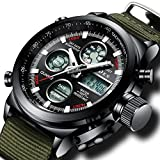 Herren Großes Gesicht Militär Digital Sportuhr Männer Wasserdicht Alarm LED Digital Uhr mit Stoppuhr Männlich Multifunktion Beiläufig Armbanduhr mit Schwarz Dial (Grün Schwarz)