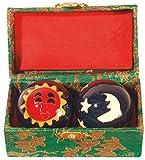 Qi Gong Kugel emailliert Sonne/Mond blau 35mm