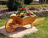 Pflanzschubkarre Blumenkarre Schubkarre aus Holz behandelt (klein)
