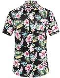 JEETOO Herren Sommer Regular Fit Kurzarm Shirts Segelschiff/Vogel/Blumen/Druck Freizeit Aloha Hawaii Hemd (XX-Large, Schwarz)