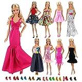 Miunana Lot 15 Kleidung = 5 Kleider + 10 Schuhe für Barbie Puppen Kindertag Geschenk