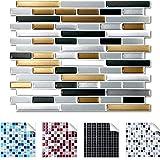 4er Pack 27,9 x 23,4 cm dunkelgrau kupfer silber Design 7 I 3D Fliesenaufkleber Ziegel große Auswahl für Küche Bad Fliesenfolie selbstklebend Wandaufkleber Wandaro W3329