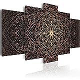 murando - Bilder 200x100 cm Vlies Leinwandbild 5 TLG Kunstdruck modern Wandbilder XXL Wanddekoration Design Wand Bild - Abstrakt Mandala Orient Ornament f-C-0132-b-n
