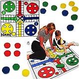 XL Spiel / Bodenspiel - ' Nicht Ärgern ' - incl. Name - 84 cm * 84 cm - Bodenmatte - Innen & Außen - für Kinder & Erwachsene - Outdoor - Spiele / Mädchen Jungen - Spielmatte / Spielteppich - Spieleteppich - Außen - Gartenspiel - ärgere - Ludo - Bodenspiel - Bodenspielzeug / Kinderspiel - Würfelspiel - extra große Figuren - Brettspiel / Familienspiel
