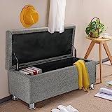 Panana Regalsystem Sitzhocker 102 x 42 x 46cm, Sitzcube als Fußablage, aus Leinen, belastbar bis 300 kg Aufbewahrungsbox - Grau