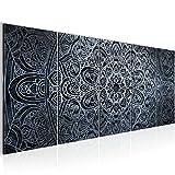 Bilder Mandala Abstrakt Wandbild 200 x 80 cm Vlies - Leinwand Bild XXL Format Wandbilder Wohnzimmer Wohnung Deko Kunstdrucke Blau 5 Teilig -100% MADE IN GERMANY - Fertig zum Aufhängen 109455c