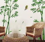 ufengke Grüner Bambus und der Vogel Wandsticker, Wohnzimmer Schlafzimmer Entfernbare Fenstersticker Wandtattoos Wandbilder