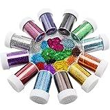 Glitzerstreuer für Kinder von Xshelley, zum Basteln, Karten herstellen, Dekorieren, 12 sortierte Farben
