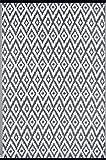 Green Decore Leichter Wendeteppich aus Kunststoff für innen und außen, dunkelgrau-weiß, 120 x 180 cm