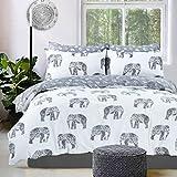 Amor Mode Elefant Animal Wende Bedruckte Bettwäsche-Set mit Kissenbezügen Hotel Qualität Polycotton Bettwäsche-Set, Polycotton, grau, Single: 135cm x 200cm