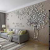 DIY 3D Riesiger Baum Paar Wandtattoos Wandaufkleber Kristall Acryl Malen Wanddeko Wandkunst (L, Silber, Links)