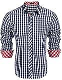 Coofandy Herren Hemd Kariert Cargohemd Trachtenhemd Baumwolle Freizeit Regular Fit (L, A-Blau)