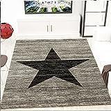 Jugendzimmer Teppich Design Stern Meliert in Schwarz Grau - ÖKO TEX Zertifiziert, Maße:160x220 cm