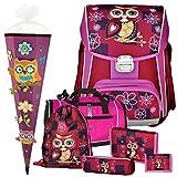 EULE - Owl - Leicht-Schulranzen-Set 6teilig für Mädchen ab 1.Klasse mit SPORTTASCHE und SCHULTÜTE