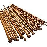 JZK 18pairs/ 36pcs Professional Stricknadel Bambus Set 2.0-10.0mm Doppelspitzig Handarbeit Knitting Needles Crochet Hooks (36 x Bambus)