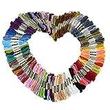 LIHAO Stickgarn Set 100 Docken Sticktwist 8m 6-fädig Bunt Multicolor für Kreuzstich Basteln