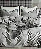 AShanlan Leinen-Bettwäsche 135x200 cm mit Baumwolle Bettwäscheset Kissenbezüge 80x80 cm Natur Vintage Grau