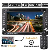 OUTAD Autoradio GPS Navigation, 6.2'' Android 6.0 2 DIN 1080P CD Tuner/DVD VCD Player, Mirrorlink/Bluetooth Freisprecheinrichtung/WiFi/RDS/DVR/SD/TF/Lenkradsteuerung, mit Fernbedienung/GPS-Antenne