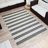 Wendeteppich »STREIFEN« In- & Outdoorteppich Webteppich Sisal-Optik Flachgewebe modern, Größe:140x200 cm, Farbe:grau/creme