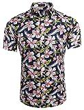 Coofandy Herren Sommer Hemd Kurzarm Hawaiihemd Hawaiishirt Freizeithemd Urlaub Hawaii-Print Dunkelblau M