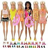 Miunana Kleider für Barbie Puppen Kleidung + Schuhe + Zubehör (5 Badeanzug + 5 Schuhe + 2 Schwimmreifen)