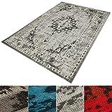 casa pura Vintage Teppich | viele Größen | im angesagten Shabby Chic Look | für Wohnzimmer, Schlafzimmer, Flur etc. | grau (200x290 cm)