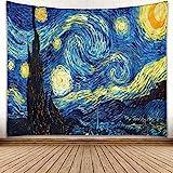 omnihabits Sternennacht Van Gogh Wandteppich, Wandtuch, Tapisserie, Tagesdecke, Wandbehang mit hoch detailliertem Druck 150 x 200 cm, weitere Designs und Größen