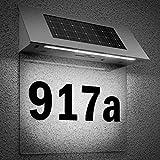 Solarhausnummer Edelstahl mit 4 starken LEDs beleuchtet transparent - LED Solarleuchte Solar Hausnummer Außenwandleuchte Hausnummernleuchte Wandleuchte - Farbauswahl