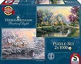 Schmidt Spiele 59468 - Thomas Kinkade, Winter in Lamplight Manour, 2 x 1.000 Teile, Klassische Puzzle