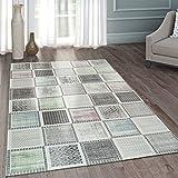 Moderner Heatset Designer Teppich Patchwork Muster Pastell Grau Rosa Blau Grün, Grösse:200x290 cm