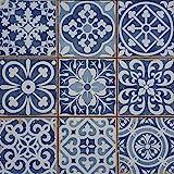 Mediterrane Patchwork Keramikfliesen Rahel Blau 33 x 33 cm 1 qm   Vintage Bodenfliesen Retro Fiese   Wanddekoration im Bad & Küchenrückwand   schöne Küche Flur & Bad   FL2112
