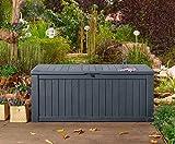 Koll Living Auflagenbox / Kissenbox Koll Living 570 Liter l 100% Wasserdicht l mit Belüftung dadurch kein übler Geruch / Schimmel l Moderne Holzoptik l Deckel belastbar bis 250 KG ( 2 Personen ) (Anthrazit)