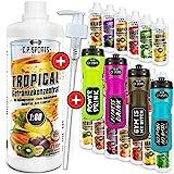 C.P. Sports Getränke Sirup zuckerfrei, Getränk 1:80 + Dosierpumpe und Trinkflasche, Getränkekonzentrat 1000ml, 1 Liter Mineral Sirup, 20 Sorten, Mineraldrink (Ananas, 650ml-Flasche-BLAU)