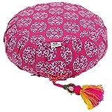Lotus Design Meditationskissen/Yogakissen rund, ZAFU RAJA, 15 cm hoch, Bezug 100% Baumwolle waschbar, Yoga-Sitzkissen mit Buchweizenschalen, sozial und fair hergestellt