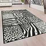 Designer Teppich Patchwork Design Tierfell Motive Modern Grau Anthrazit Weiß, Grösse:160x220 cm