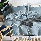 AShanlan Bettwäsche Set Bettbezug 135 x 200, 1 Kissenbezug 80x80, Blau, 2 teilig Cotton Leinen Bettwäsche Stonewashed