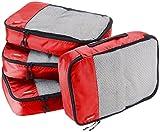 AmazonBasics Mittelgroße Kleidertaschen, 4 Stück, Rot