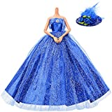 Asiv 1 PCS Prämie Glänzend Handgefertigte Prinzessin Kleid Brautkleider für Barbie-Puppen mit Feder Hut (Blau)