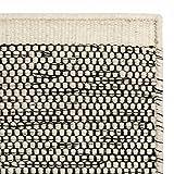 URBANARA Teppich 'Kolong' - 100% reine Woll-Baumwoll-Mischung, Eierschale/Schwarz, handgewebt – 140 x 200 cm, Wollteppich, Wohnteppich, Schlafzimmer-Teppich, Wohnzimmer-Teppich, Kinderzimmer-Teppich