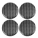 X AUTOHAUX 50 mm Karbonfaser-Aufkleber für Radnabenkappen, klares Harz, 4 Stück